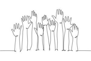 um único desenho de linha de um grupo de pessoas se abre e levanta as mãos no ar. conceito de trabalho em equipe de negócios. linha contínua moderna desenhar design gráfico ilustração vetorial vetor