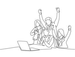 um desenho de linha contínua de jovem ceo de start-up feliz do sexo masculino e seus subordinados celebrando seu sucesso atingir a meta de negócios. conceito de objetivo de trabalho em equipe ilustração de desenho de linha única vetor