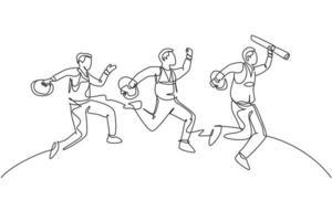 um desenho de linha de construção do jovem trabalhador feliz e arquiteto pulando para alcançar seu objetivo de negócios juntos. equipe de negócios objetivo conceito linha contínua desenhar ilustração vetorial de design gráfico vetor