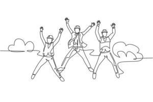 um desenho de linha de jovem homem de negócios feliz e mulher de negócios, saltando para comemorar seus sucessivos negócios. conceito de celebração de negócio. ilustração em vetor desenho desenho em linha contínua