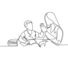 um único desenho de linha de uma jovem mãe feliz acompanha seu filho estudando e lendo um livro enquanto dá mais cinco gestos. parentalidade conceito de cuidados de família. ilustração em vetor desenho desenho em linha contínua