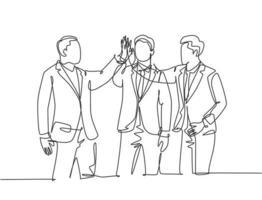 desenho de linha única de jovens empresários felizes celebrando seus sucessivos negócios e fazendo gesto de high fives. conceito de negócio de linha contínua desenhar ilustração vetorial de design gráfico vetor
