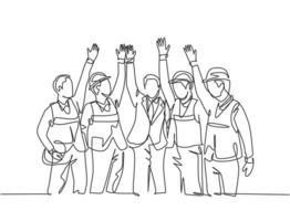 desenho de linha única de trabalhadores da construção e capataz com colete e capacete celebram sua construção sucessiva. conceito de construção civil. ilustração em vetor desenho gráfico linha contínua
