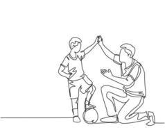 um desenho de linha de um jovem pai feliz curvando seu corpo para dar o gesto de mais cinco para seu filho enquanto jogava futebol na quadra de futebol. conceito de parentalidade. ilustração em vetor desenho desenho em linha contínua