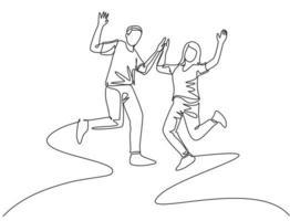 desenho de linha única de jovem casal de estudantes felizes pulando para comemorar a formatura do resultado do exame final juntos. conceito de educação de vida no campus. ilustração em vetor desenho desenho em linha contínua