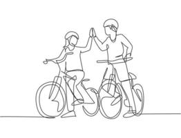 um desenho de linha do jovem casal feliz masculino e feminino dar um passeio com bicicleta juntos e dando mais cinco gesto. conceito de relacionamento romântico. ilustração em vetor desenho desenho em linha contínua