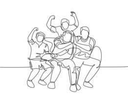 um único desenho linear de jovens torcedores do grupo felizes sentados no sofá e assistindo ao jogo de seu clube favorito na televisão. ilustração em vetor projeto do fã clube conceito linha contínua desenhar