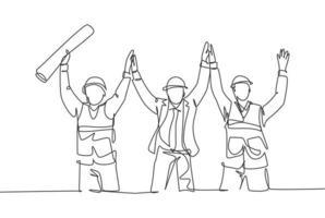 desenho de linha única do trabalhador da construção e do capataz celebram a construção sucessiva do edifício juntos. conceito de construção de construção linha contínua desenhar design ilustração gráfica de vetor