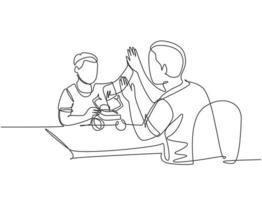 desenho de linha única do pai acompanha seu filho jogando um kit de modelo de figura de ação de robô e dá mais cinco gestos. conceito de paternidade linha contínua desenhar design gráfico ilustração vetorial vetor