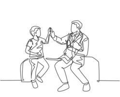 desenho de linha única de jovem médico feliz verificando o menino paciente doente e dar mais cinco gesto. conceito de tratamento de serviço médico de saúde. ilustração em vetor desenho desenho em linha contínua