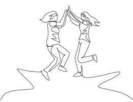 desenho de linha única de duas mulheres felizes pulando e dando mais cinco gestos para celebrar o sucesso do negócio. amizade conceito linha contínua desenhar design gráfico ilustração vetorial vetor