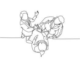 um desenho de linha de jovens empresários comemorando seu objetivo sucessivo na reunião de negócios com gesto de mais cinco da vista superior. conceito de negócio de negócios linha contínua desenho ilustração de design vetor