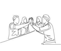 um desenho de linha de jovens empresários e empresárias celebrando seu objetivo sucessivo na reunião de negócios com um gesto de mais cinco. conceito de negócio de negócios linha contínua desenho ilustração de design vetor