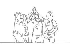 um grupo de desenho de linha de homem e mulher comemorando seu objetivo sucessivo com gesto de cinco mais alto juntos. reunião de negócios negócio conceito linha contínua desenho ilustração vetorial vetor