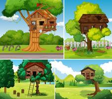 Antigas, treehouses, em, a, parque vetor