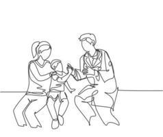 desenho de linha única de jovem médico feliz verificando o menino paciente doente e dando mais cinco gesto. saúde médica no hospital conceito linha contínua desenhar ilustração vetorial de design gráfico vetor