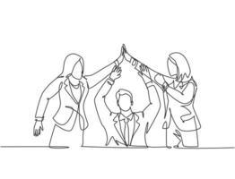 um grupo de desenho de linha de dois jovens gerente-assistente celebrando seu objetivo sucessivo com gesto de mais cinco. conceito de negócio de negócios linha contínua desenhar design ilustração gráfica de vetor