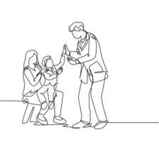 desenho de linha única de jovem pai feliz visitado por seu filho e esposa no escritório, em seguida, dando um gesto de mais cinco. conceito de cuidados parentais. ilustração em vetor design gráfico moderno linha contínua