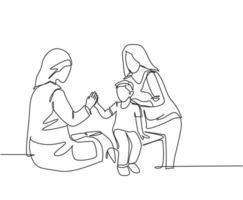 desenho de linha única de jovem médica feliz verificando o menino paciente doente e dando mais cinco gesto. conceito de saúde médica. linha contínua moderna desenhar design ilustração gráfica de vetor