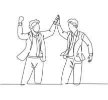 um desenho de linha de dois jovens empresários felizes comemorando seu objetivo sucessivo com gesto de cinco juntos. conceito de negócio de negócios linha contínua desenhar design gráfico ilustração vetorial vetor