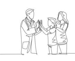 desenho de linha única de jovem médico feliz verificando o menino paciente doente e dando mais cinco gesto. conceito de saúde médica linha contínua desenhar design gráfico ilustração vetorial vetor