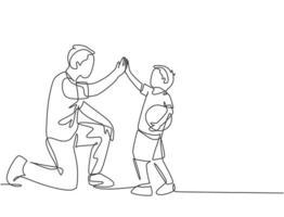 um desenho de linha do jovem pai feliz curvar seu corpo para dar mais cinco gestos para seu filho e dar mais cinco gestos. parentalidade conceito de cuidados de família. ilustração em vetor desenho desenho em linha contínua