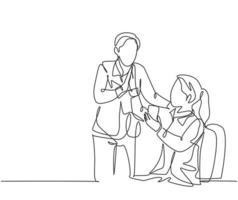 desenho de linha única de jovem casal feliz comemora seu sucesso enquanto a mulher falando ao telefone e dá mais cinco gestos. conceito de negócio de negócios linha contínua desenho ilustração vetorial vetor