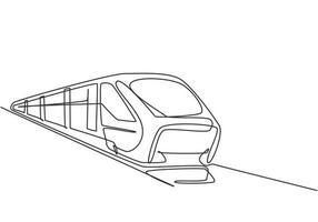 Um único desenho de linha do trem visto de frente prepara para transportar passageiros com rapidez, segurança e conforto ao seu destino. moderna linha contínua desenhar design gráfico ilustração vetorial. vetor
