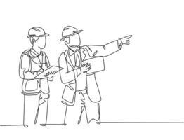 desenho de linha única contínua do jovem arquiteto e construtor de casa discutindo o projeto da residência com o consultor. conceito de planejamento de construção em casa. ilustração vetorial desenho gráfico de uma linha vetor