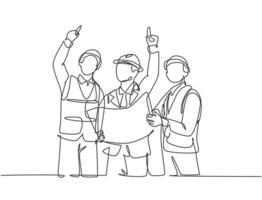único desenho de linha contínua do jovem arquiteto segurando a planta e discutindo a construção civil com o capataz. design arquitetura conceito uma linha desenhar design ilustração gráfica de vetor