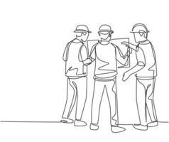 desenho de linha única contínua do jovem arquiteto e capataz fazendo um brainstorming sobre a planta do projeto de construção. conceito de planejamento de discussão de construção. ilustração vetorial desenho gráfico de uma linha vetor