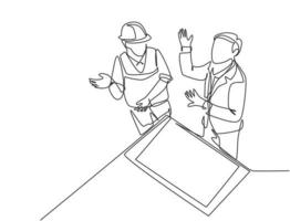 único desenho de linha contínua do jovem arquiteto e capataz discutindo sobre o projeto de construção de planta. conceito de conversa de planejamento de construção. ilustração em vetor gráfico moderno desenho de uma linha