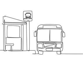 Um único desenho linear de ponto de ônibus com abrigo, placa de ônibus simples e um ônibus esperando os passageiros entrarem e saírem e, em seguida, continuar a viagem. ilustração em vetor gráfico desenho linha contínua