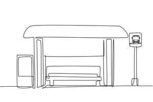 desenho único de uma linha de pontos de ônibus com abrigos, placas de ônibus simples e lixeiras localizadas nas laterais das vias urbanas, onde os passageiros entram e saem. ilustração em vetor gráfico de desenho de uma linha.