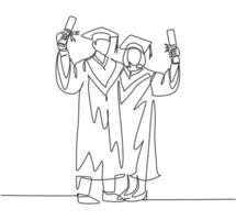 um desenho de linha contínua de um jovem casal feliz, estudante universitário, mostra sua lista de formatura para celebrar sua graduação. conceito de faculdade de educação. ilustração em vetor desenho desenho de linha única