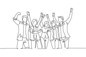um único desenho de linha do grupo de jovens ceo felizes e seus colegas comemorando o sucesso ao atingir a meta de negócios da empresa. trabalho em equipe objetivo conceito linha contínua desenho ilustração vetor