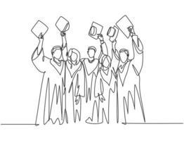 um único desenho de um grupo de estudantes universitários do sexo masculino e feminino levantando o boné para celebrar a formatura da escola. conceito de educação linha contínua desenho ilustração vetorial vetor