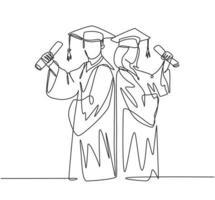 um desenho de linha contínua de um jovem casal feliz, estudante universitário, segura o papel e comemora sua formatura na universidade. conceito de educação. ilustração em vetor desenho desenho de linha única