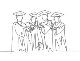 um único desenho de linha de um grupo de estudantes universitários do sexo masculino e feminino mostra sua carta de formatura para comemorar sua graduação na escola. conceito de educação linha contínua desenhar ilustração de design vetor