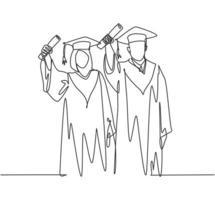 um desenho de linha contínua de um jovem casal feliz estudante universitário orgulhoso de mostrar sua carta de formatura para comemorar sua graduação. conceito de educação ilustração vetorial desenho desenho de linha única vetor