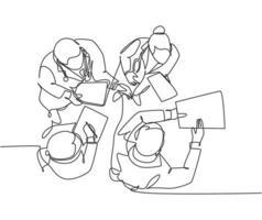 único desenho de linha contínua do médico sênior, dando explicação ao médico assistente sobre os procedimentos do hospital. conceito de serviço de saúde médico. ilustração em vetor desenho desenho de uma linha