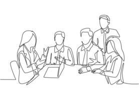 um desenho simples de instrutora treinando sobre plano de negócios e organização de negócios para o jovem CEO do escritório. conceito de treinamento empresarial linha contínua desenho ilustração vetorial vetor