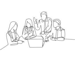 um único desenho de linha de jovens trabalhadores de startups felizes enfrentando o computador laptop para ouvir o ceo apresentando o plano de negócios. conceito de reunião de negócios linha contínua desenho ilustração vetorial vetor