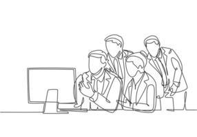 um desenho simples de um jovem homem de negócios e uma mulher de negócios inscritos na conferência online por meio da tela do monitor. conceito moderno de teleconferência linha contínua desenhar design gráfico ilustração vetorial vetor