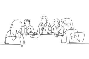 um desenho de linha contínua do gerente sênior, dando instruções para aumentar as vendas de produtos para os membros da equipe de marketing na reunião. conceito de briefing de negócios ilustração de desenho de linha única vetor