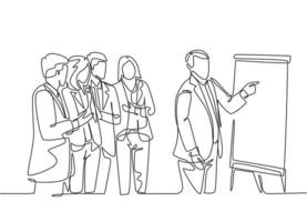 desenho de linha única contínua do gerente sênior fazendo apresentação e instruções para as equipes de marketing no flip chart. conceito de reunião de negócios desenho de uma linha ilustração gráfica de vetor