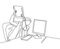 um único desenho de linha de jovem trabalhador furioso pronto para destruir o computador monitor usando a pasta de arquivo. sobrecarga de trabalho no escritório conceito linha contínua desenhar design gráfico ilustração vetorial vetor