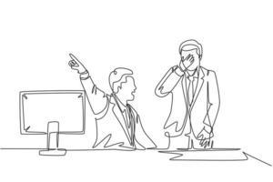 único desenho de linha contínua de um jovem gerente furioso gritando e expulsar sua equipe masculina chorando da sala. conceito de dispensa de escritório de trabalho, desenho de uma linha, desenho gráfico, ilustração vetorial vetor