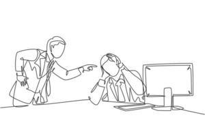 um desenho contínuo de um jovem gerente furioso culpando sua equipe preguiçosa pelo mau desempenho e atitude no trabalho. disciplina de trabalho no escritório conceito ilustração vetorial desenho linha única vetor