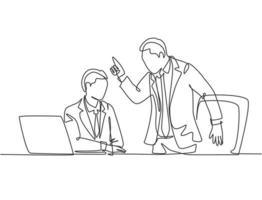 um único desenho de linha de jovem gerente chateado perguntando à equipe sobre erros de desempenho de dados de vendas. problema de trabalho no conceito de escritório. linha contínua moderna desenhar design ilustração gráfica de vetor